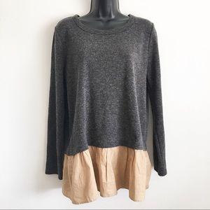 THML Large Charcoal Brown Shirt Acrylic Rayon